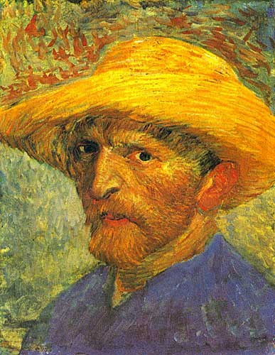Vincent Van Gogh Self Portrait with Straw Hat, Paris Summer 1887