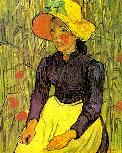 Vincent Van Gogh Young Peasant Woman with Straw Hat Sitting in the Wheat Auvers-sur-Oise late June 1890
