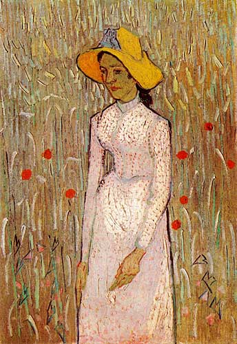 Vincent Van Gogh Young Girl Standing against a Background of Wheat, Auvers-sur-Oise, late June 1890