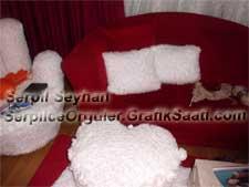 Yün örgüden koltuk takımı, puf ve yastık