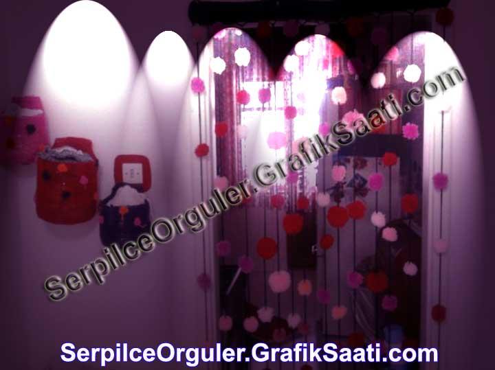 Serpilce.ile Serpilce örgüler ponpon mutfak kapısı örgüsü ev dekorasyon örgüleri